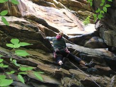 Rock Climbing Photo: Moving up and left towards the crux (just beyond t...