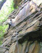 Rock Climbing Photo: Jeff nearing the crux on Shady Lady (5.7).