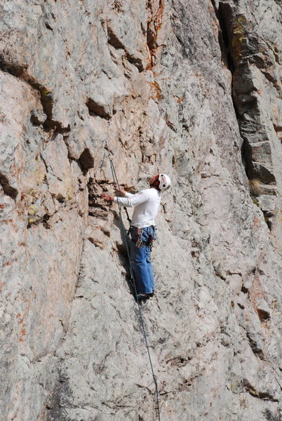 Rock Climbing Photo: Resting right before the crux.  The next move isn'...