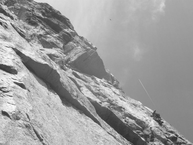 Rock Climbing Photo: Ben leading pitch 12 while a missile is nearing it...