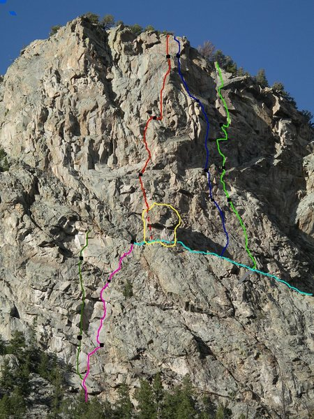 Routes on The Halidome as of May, 2008.<br> Yellow cirlce: The EIH<br> Light blue: The Catwalk (ledge)<br> Dark green: King of the Mountain (.13a) (only P1 and P2 shown)<br> Pink: Cat Tracks (.11c)<br> Red: Loosey in the Sky (.12a/b)<br> Blue: Priceless (.12b)<br> Green: Touch Gold (.12b/c)