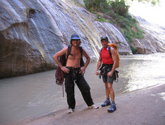 Rock Climbing Photo: Terry and Dave at the Zion Narrows via Mystery Can...