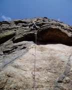Rock Climbing Photo: Above the ceiling on P1, about to make the awkward...