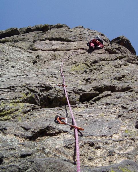 Rock Climbing Photo: Approaching the headwall on P2. Photo by Paul Rezu...
