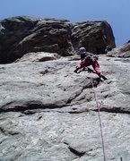 Rock Climbing Photo: The P1 crux. Photo by Paul Rezucha.