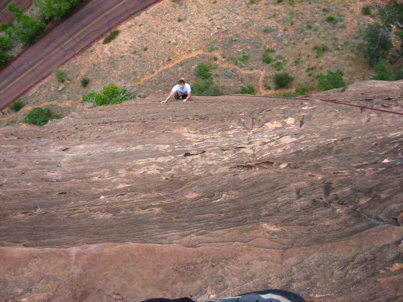 Rock Climbing Photo: Noah as a second follower on the 2nd pitch.  Bolte...