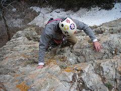 "Rock Climbing Photo: Steve down climbing the ""Walk-Off"""