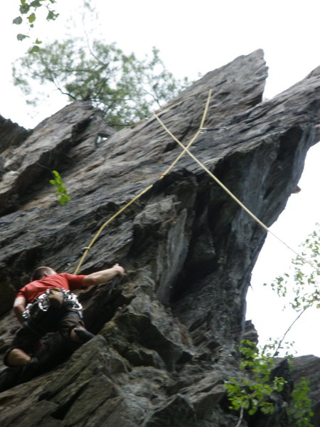 Rock Climbing Photo: starting the exposed part of the climb