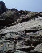 Rock Climbing Photo: Near the upper crux on this long pitch. Photo by P...