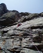 Rock Climbing Photo: There's a hard slab move here, but you can bypass ...