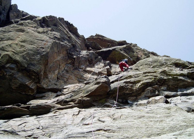 Approaching the upper crux. Herb-A-Med-Veg-A-Matic is on the left. Photo by Paul Rezucha.