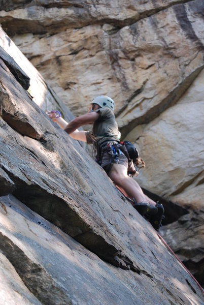 Rock Climbing Photo: Placing gear higher up.