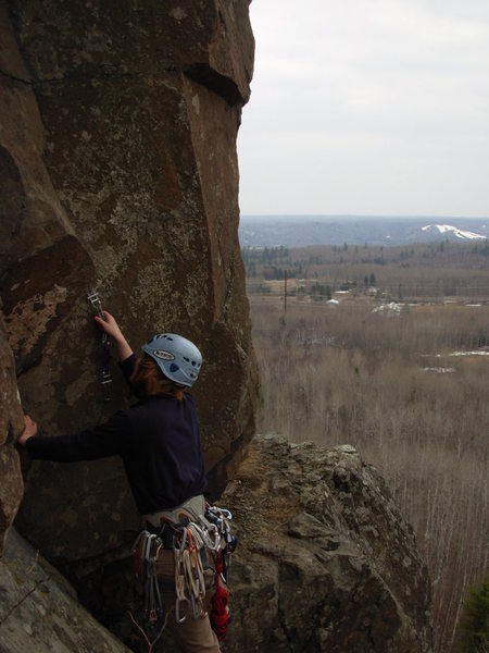 Rock Climbing Photo: Cora leading up past the big ledge.