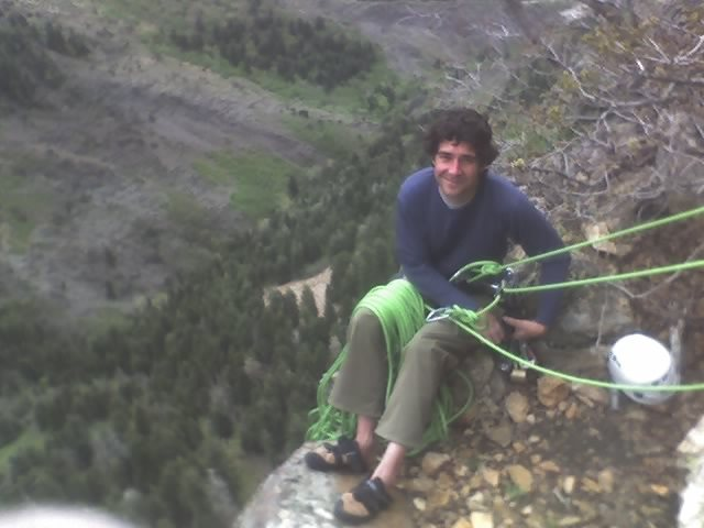 tony at the first belay on jam crack.