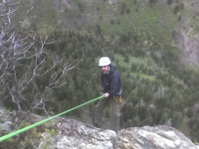 Rock Climbing Photo: rapping again. tie some knots at the ends of the r...