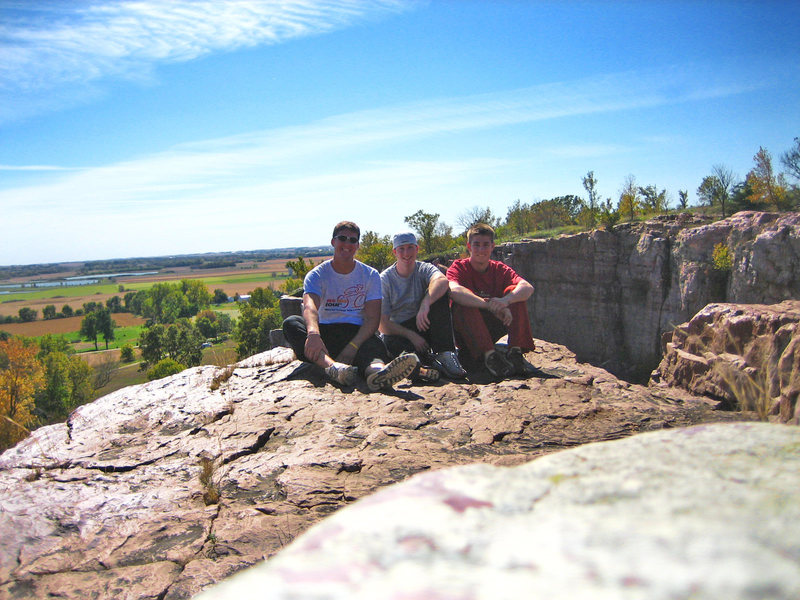 Dan, myself, and Chad chillin over the quarry @ Blue Mounds