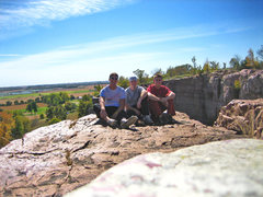 Rock Climbing Photo: Dan, myself, and Chad chillin over the quarry @ Bl...