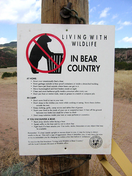 New sign @ entrance to SandGulch, Beware of Bears..!!!