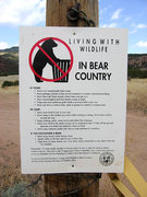 Rock Climbing Photo: New sign @ entrance to SandGulch, Beware of Bears....