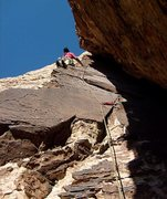 Rock Climbing Photo: Climbing the varnish on pitch 1 of Ernest Stemming...