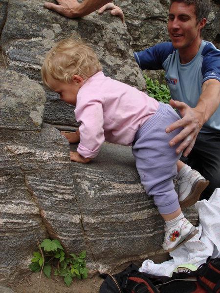 Norah climbing