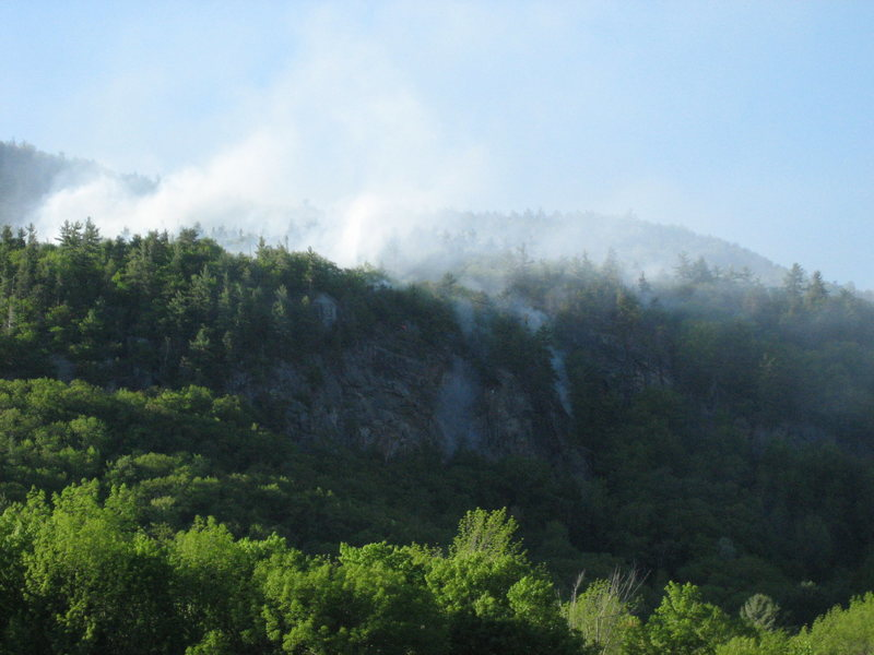 Rock Climbing Photo: Rumney forest fire, May 28th. This is a view of Ma...