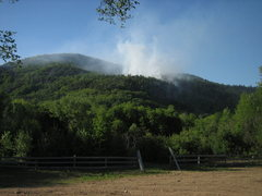 Rock Climbing Photo: Rumney forest fire, May 28th. Main Cliff is visibl...