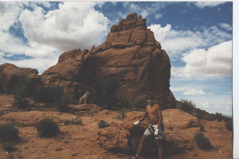 Me and a Coyote- Arches National Monument, after climbing the Owl.