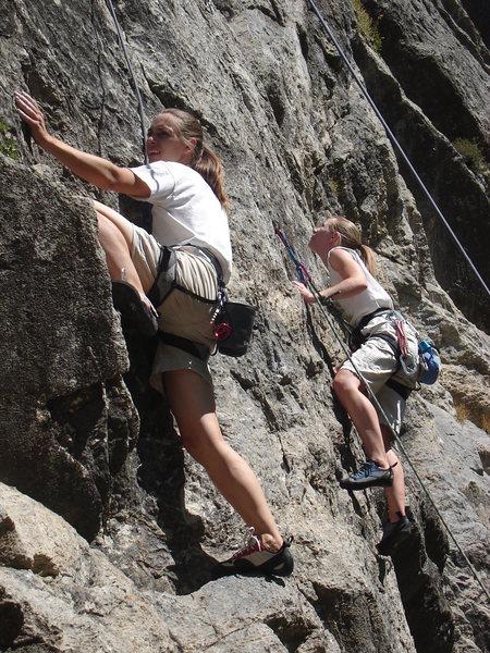 Rock Climbing Photo: Sisters, Robin and Amanda in Rock Canyon, Provo, U...