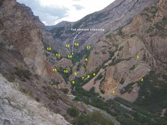 Rock Climbing Photo: Rock Canyon - Lower  1. Black Rose 2. Red Slab 3. ...