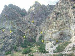 Rock Canyon mouth - Trilogy Gully <br /> <br />1. <a href='/v/bad-bananas/106018456'>Bad Bananas</a> <br />2. <a href='/v/super-bowl-wall/105817841'>Super Bowl Wall</a> <br />3. <a href='/v/the-wasp/105846317'>The Wasp</a> <br />4. <a href='/v/trilogy-buttress/105853667'>Trilogy Buttress</a> <br />5. <a href='/v/acdc-wall/105974993'>AC/DC Wall</a> <br />6. <a href='/v/the-jobsite/105947305'>The Jobsite</a> Left <br />7. <a href='/v/the-jobsite/105947305'>The Jobsite</a> Right