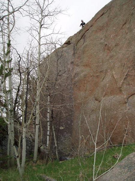 Rock Climbing Photo: EJ Nogaski on top of Behind Blue Eyes.