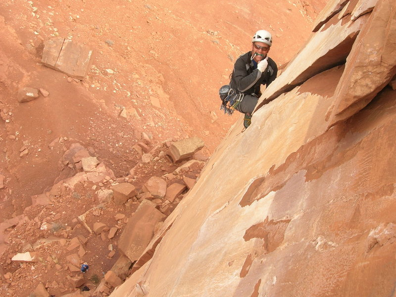 Rock Climbing Photo: ummmmm.....green camalot. Josh Thompson Onsighting...