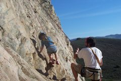 Rock Climbing Photo: Dylan Geyer onsighting 5.4 at age four.