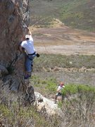 Rock Climbing Photo: Doug going for the flash attempt. (photo: Randy Fi...