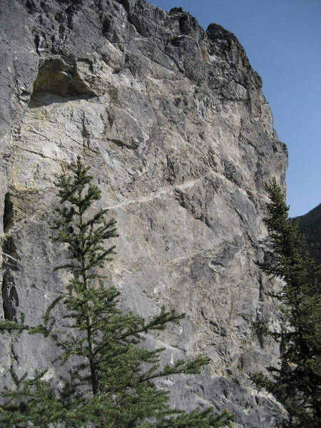 Steep, short face (30-35 feet) contains 3 routes. The bolted route in middle of face is Sporty Spice 10a@SEMICOLON@ the route to its' immediate left that climbs the small roof is Yoshimi Battles the Giant Pink Robots 5.8- TR@SEMICOLON@ the line on the face to its' right is Return to Hot Chicken 5.9 TR.