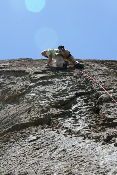 Rock Climbing Photo: High up the excellent crack on Borrowing From Trad...