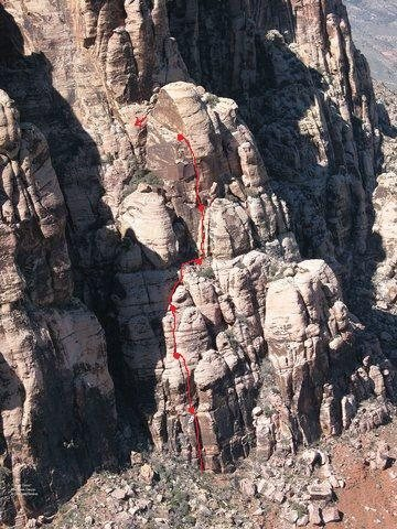 Rock Climbing Photo: As requested, here's the line of Orange Clonus.