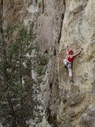 Rock Climbing Photo: Heather D styling on unknown (as in we forgot) 10b...