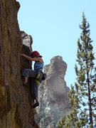 Rock Climbing Photo: Heather D on Rope your Dope Block at Smith Rock.