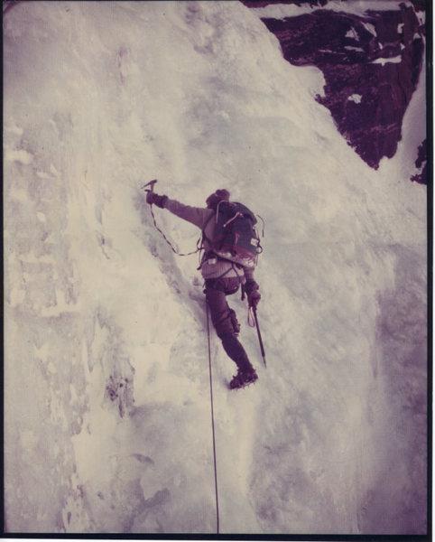 Rock Climbing Photo: Pinnacle Gully: Mt. Washington 1974  Chouinard ice...