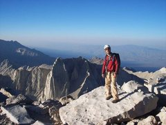 Rock Climbing Photo: Me on the summit of Mt. Whitney. That's Mt. Russel...