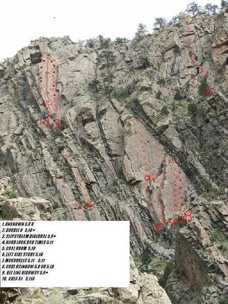Rock Climbing Photo: Upper slabs with Bee Line Highway shown as #9.