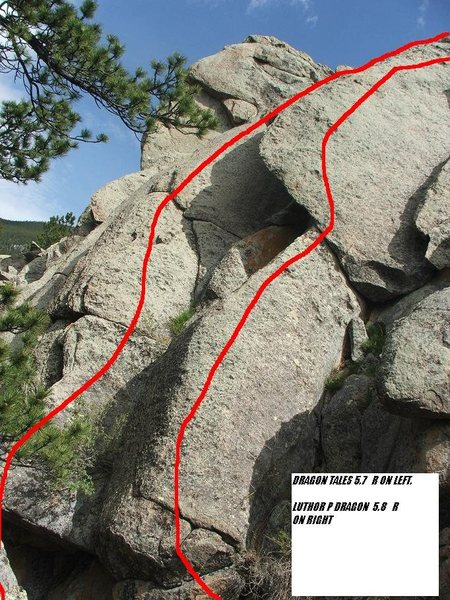 Rock Climbing Photo: Dragon Scales on left, Luthor P Dragon on right.