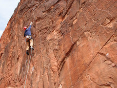Rock Climbing Photo: Long reach on Totally Clips.