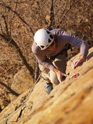 Rock Climbing Photo: John Ross at the crux of Black Rose.