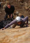 Rock Climbing Photo: John Ross wishing he'd worn tighter shoes on Black...
