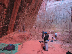 Rock Climbing Photo: The Namaste wall overhangs a bit. The foreground r...