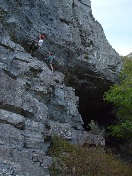 Rock Climbing Photo: Kip Henrie starting up one of the routes to the le...
