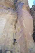 Rock Climbing Photo: Craig making good effort on a FA that starts at th...